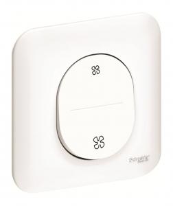 Interrupteur VMC - Schneider - Sans position arrêt - Ovalis - Blanc - Complet