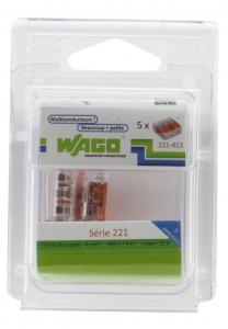 Pack 5 Bornes de connexion universelle - Wago - Tous conducteurs - Type 221 - 3 entrées