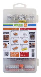 Valisette de 100 bornes automatiques - WAGO - 2, 3 et 5 entrées - Série 221 et 2273 Mini