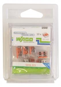 Pack 10 Bornes de connexion universelle - Wago - Tous conducteurs - Type 221 - 2 entrées