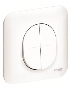 Double interrupteur va et vient - Schneider - 10 A - Ovalis - Blanc - Complet
