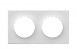 Plaque 2 postes - Schneider - Odace Styl - Blanc - À composer