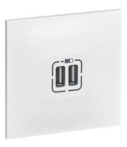 Double chargeur USB Neptune - Legrand - Blanc