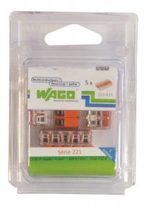 Pack 5 Bornes de connexion universelle - Wago - Tous conducteurs - Type 221 - 5 entrées