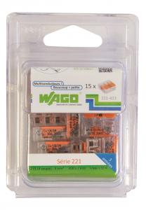 Pack 15 Bornes de connexion universelle - Wago - Tous conducteurs - Type 221 - 3 entrées