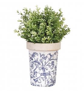 Pot de fleur en céramique patiné - Esschert Design - Bleu/Blanc