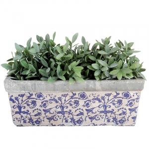 Jardinière en céramique patiné - Esschert Design - Bleu/Blanc