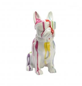 Bulldog USA cravate trash en polyrésine - Amadeus - 36 cm - Blanc