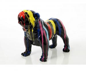 Bulldog français trash Déco en polyrésine - Amadeus - 90 x 45 x h 70 cm - Noir