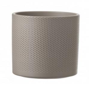 Pot Era en relief - Mica Decorations - gris clair - 12,5x13,5 cm