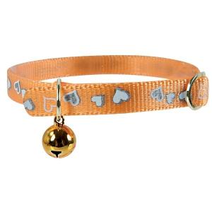 Collier réglable réfléchissant Cœur pour chat - Zolux - 30 cm - Orange