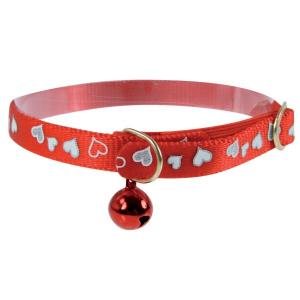 Collier réglable réfléchissant Cœur pour chat - Zolux - 30 cm - Rouge
