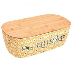 """Boîte à pain """"Elle est pas belle la mie ?"""" - Natives - En bambou - 35 x 19 x 12 cm"""