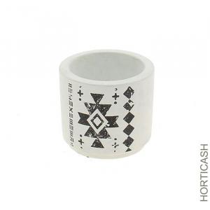Cache pot blanc et noir au motif - Horticash - céramique - Ø 8 cm