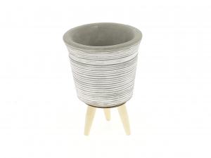 Cache pot gris motif striés - Horticash - ciment - Ø 8.4 cm
