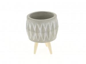 Cache pot gris motif losange sur pieds - Horticash - ciment - 7.8 cm