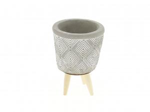 Cache pot gris motif géométrique sur pieds - Horticash - ciment - Ø 8.2 cm