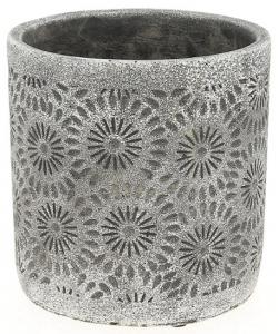 Cache pot gris motif fleur - Horticash - ciment - Ø 14 cm