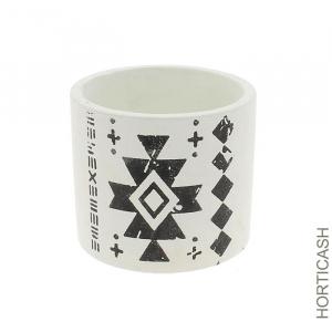 Cache pot blanc et noir au motif - Horticash - céramique - Ø 14 cm