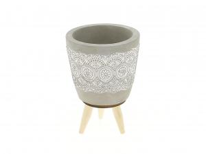 Cache pot gris motif dentelle sur pieds - Horticash - ciment - Ø 8.5 cm
