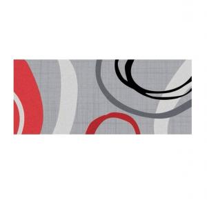 Tapis Boston - Cercle - 50 x 120 cm - Rouge & gris