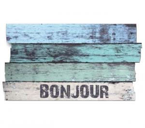 Tapis Boston - Planche Bonjour - 40 x 70 cm - Bleu