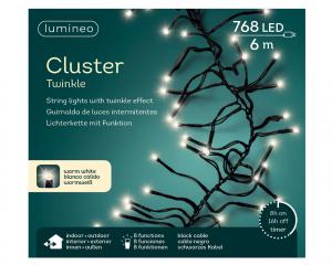 Guirlande lumineuse électrique en GRAPPE  - b lanc chaud - intérieur et extérieur - 6m - 768 LEDS