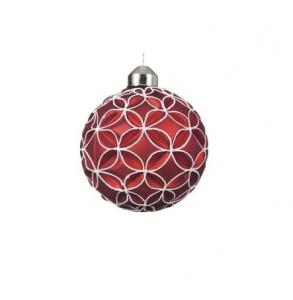 Boule en relief losanges - Verre - Rouge - Ø 8 cm