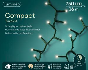 Guirlande lumineuse électrique750  leds-  -  blanc chaud - intérieur et extérieur - Câble vert - 16m