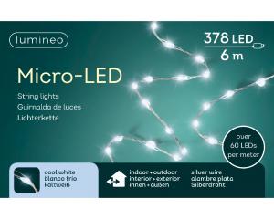 Guirlande micro-led - blanc froid - intérieur et extérieur - câble argent - 6 m