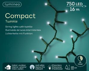 Guirlande lumineuse électrique 750 leds- blanc froid - intérieur et extérieur- Câble vert - 16m