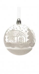 Boule Maison et sapin - Blanc et argent- Ø 8 cm