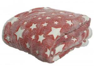 Plaid - Motif étoiles - Blanc/rouge - 130x150 cm