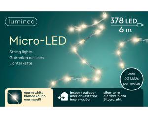 Guirlande micro-led - blanc chaud - intérieur et extérieur - câble argent - 6 m
