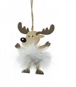 Suspension renne et plumes - 12 cm