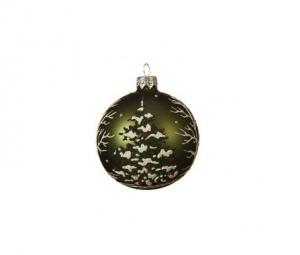 Boule verre mat, 3 coloris assortis, sapin de Noël peint en vert et blanc, ruban d'organza, soufflé bouche, Ø 8 cm
