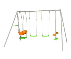 Portique métal JADE - 2 balançoires + 1 face à face + 1 nacelle - Trigano - 6 enfants - 2,20 m
