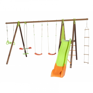 Portique bois/métal Octavo - 5 agrès + plate-forme et toboggan - Trigano - 8 enfants - 2,30 m
