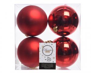 Lot de 4 boules en plastique - 10 cm - Rouge brillant et mat