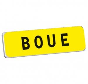 """Panonceau jaune KM9 """"Boue"""" - Taliaplast - T1 - 900 x 250 mm"""