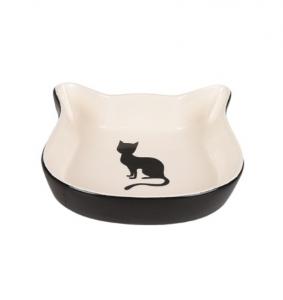 Gamelle pour chat NALA - Flamingo - 220 ml - 12,5 cm - Blanc et noir
