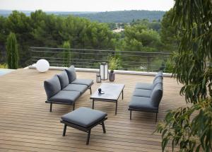Table Basse / Pouf Polofa - Les Jardins- Aluminium/Textile - Gris