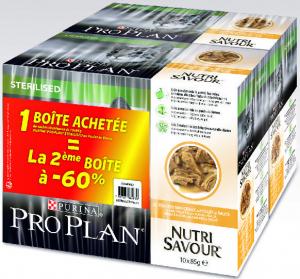 Aliment en sauce nutrisavour chat stérilisé - poulet - Pro Plan - Lot 2 boîtes de 10 poch. de 85gr dont la 2ème à -60 %