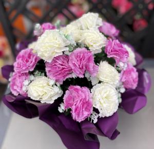 Bouquet bulle oeillets- Artificiel