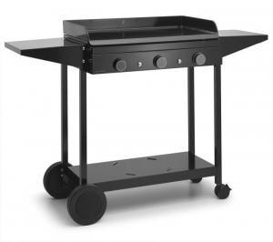 Chariot en acier noir pour plancha Origin 75 - Tablettes rabattables - L 99,2 xl 55,8 x H 99,5 cm