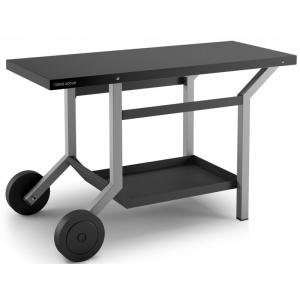 Table roulante en acier pour plancha - Noir et gris clair - 119 X 65 X 76 cm - Forge Adour