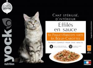 Effilés en sauce poulet haricots et bœuf carottes pour chat stérilisé - Yock nutrition - 12*85g