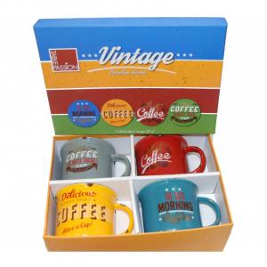 Coffret 4 mugsvintage - 35 cl