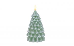 Bougie LED - Sapin - Vert - Ø 10 cm - 21 cm