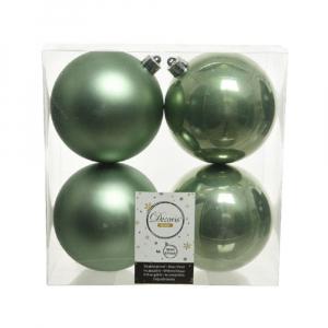 Boules de Noël - 4 unités - En plastique - Vert sauge - Ø 10 cm